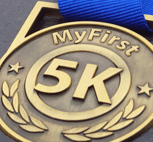 #first5k medal, running medal, my first 5k me4dal