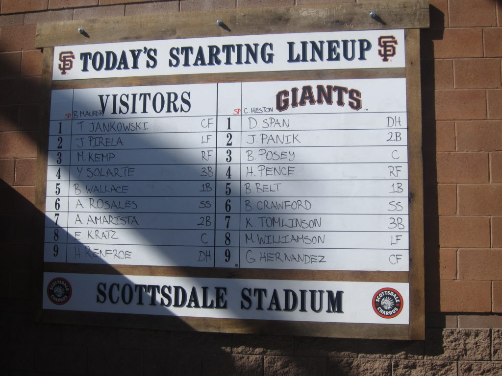 Hand written starting lineups are posted at the entrance to the stadium