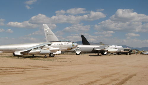 Bomber Row at Pima — B-47 in front of three B-52s