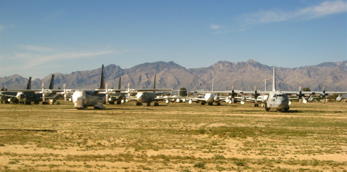 c-130s and mountains at Davis-Monthan AMARG