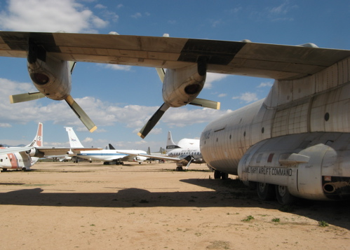c-133b cargomaster and the pima air & space museum yard