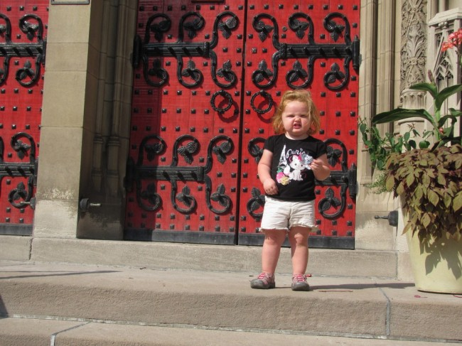 My niece, not impressed by Heinz Chapel.