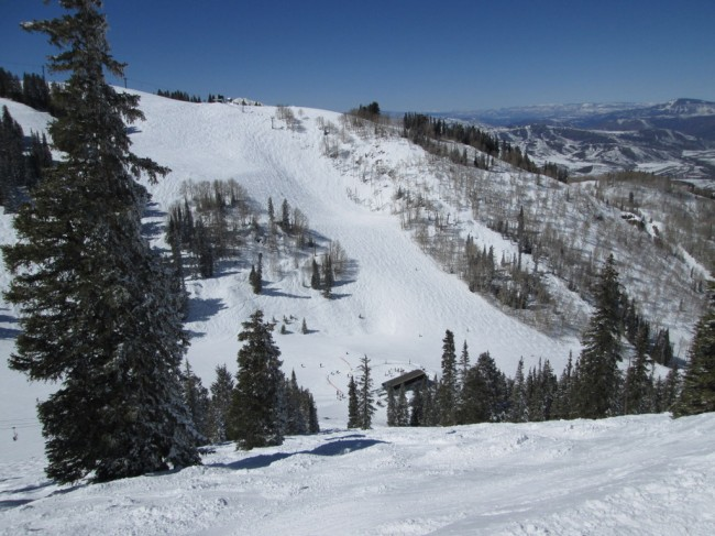 View from the top of the Bell Mountain lift down the
