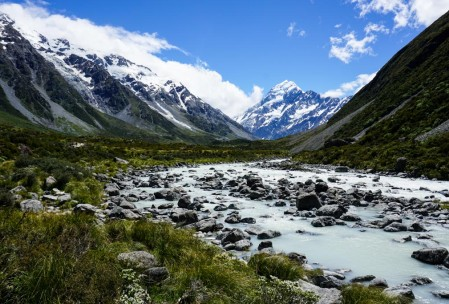 Hooker River with Mt. Cook in the distance
