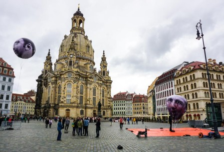 The Dresden Frauenkirche. The G8 was in Dresden that week. The balloons are of the leaders' faces.