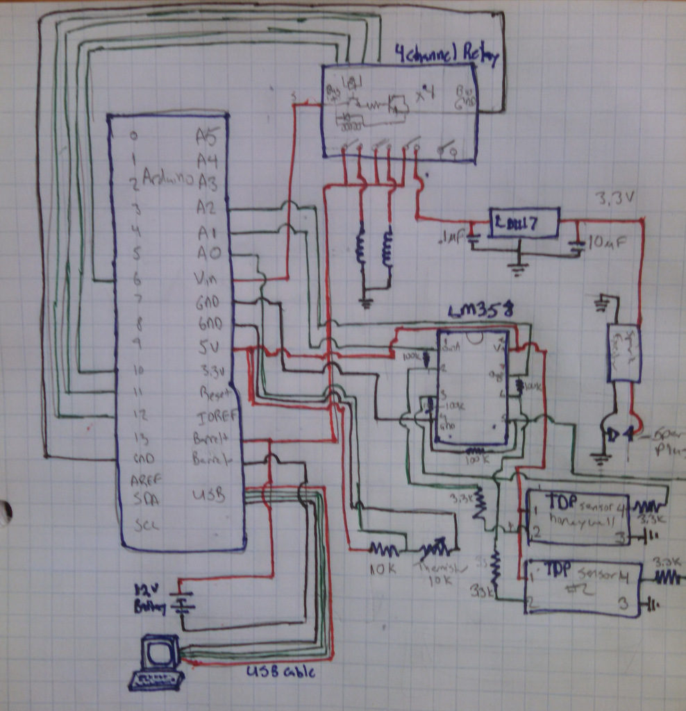 The schematic gets cluttered in a hurry. It is actually about as complicated to prototype as it was to sketch out.