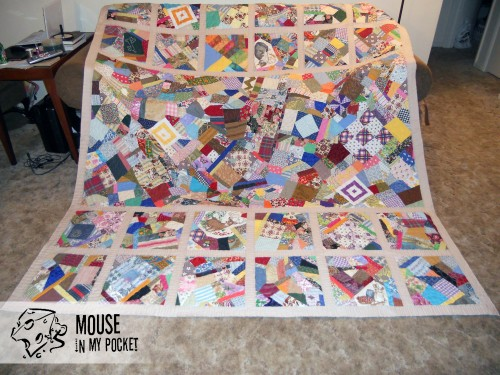 crazy quilt with quilting