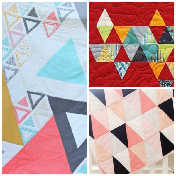 Left: Art Gallery Fabrics free triangle quilt pattern, Top Right: Zen Chic Child's Play Quilt, Bottom Right: See Kate Sew Modern Ombre and BW Quilt