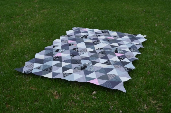 triangle along quilt top