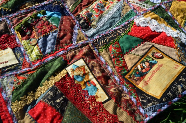 Christmas Crazy Quilt closeup