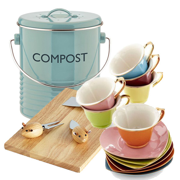 Compost bucket by Typhoon Housewares available for £19.95 at Silver Mushroom; Mice and Menu Cheese Board set from Modcloth for $29.99;  Dream Sugar and Tea set from Modcloth for $64.99.