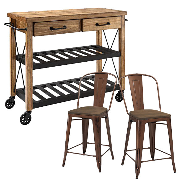 Crosley Roots Rack Industrial Kitchen Cart available for $478.00 at Amazon; and Tabouret Wood Seat Brushed Copper Bistro Counter Stools for $148.00 per set of 2 from Overstock.com.