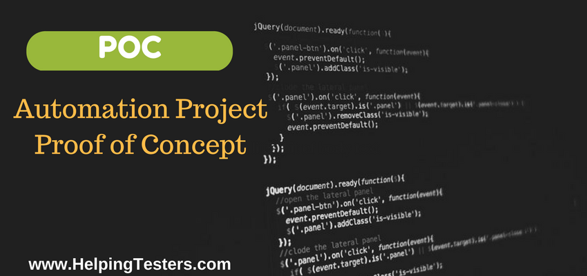 POC for automated testing, automated testing proof of concept, proof of concept for automated testing, pilot project