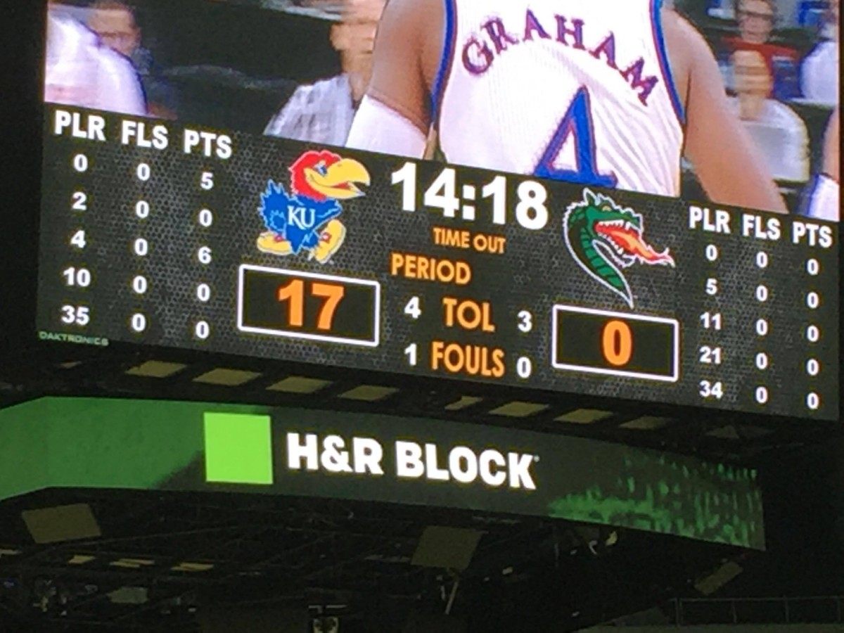 The Kansas Jayhawks took an early lead against the UAB Blazers on Nov. 21 in the CBE Classic. Photo by Ryan Landreth.