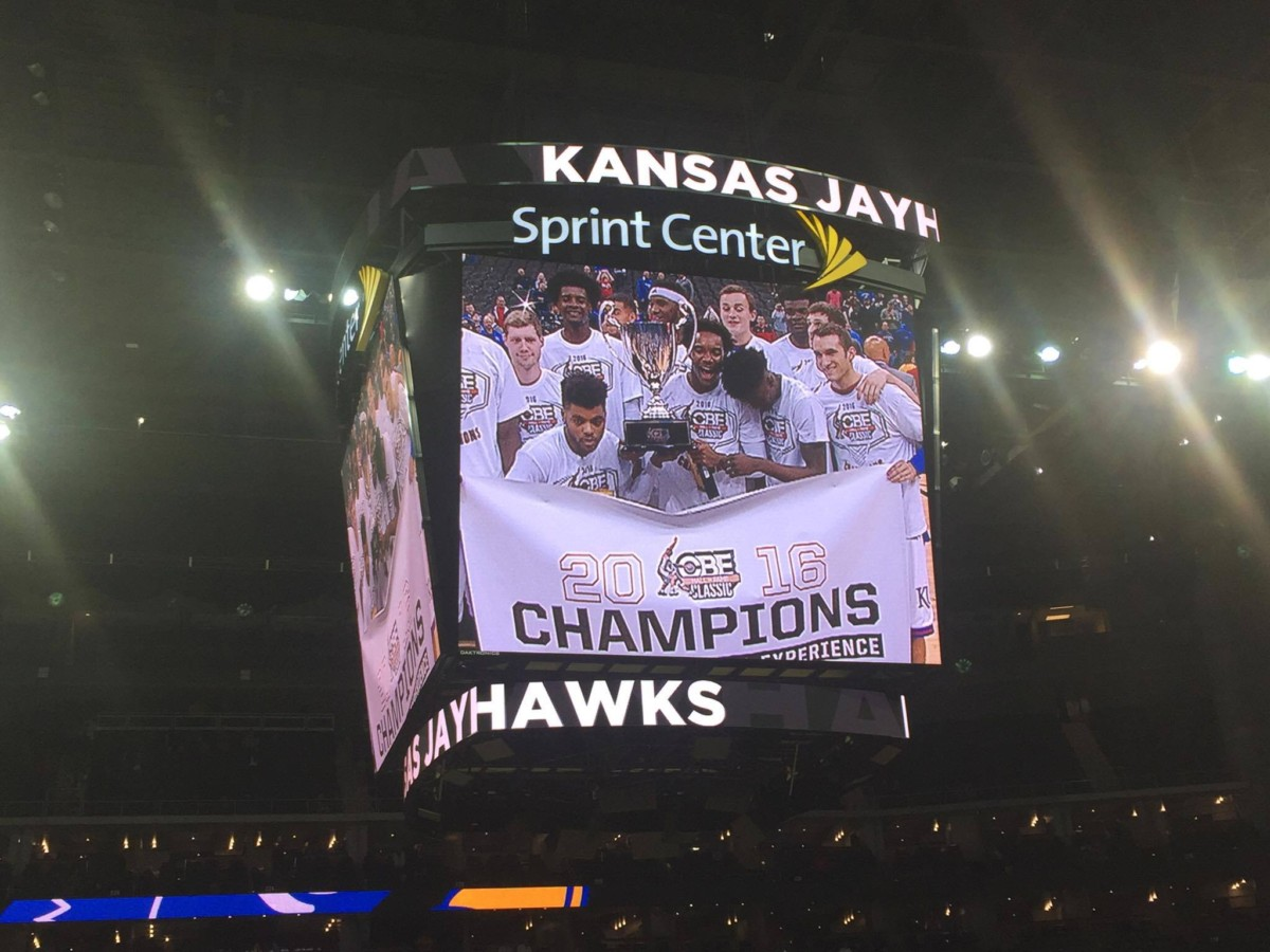 The No. 5 Jayhawks celebrate after beating Georgia to win the CBE Classic championship on Nov. 22, 2016. Photo by Ryan Landreth.