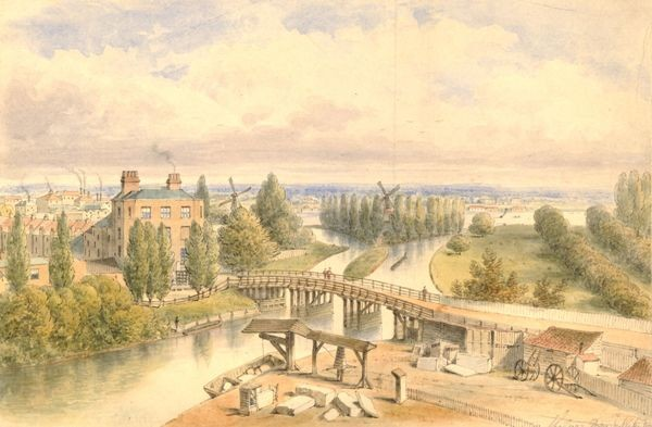 North-west view of 'Jenny Whim's' Bridge over the Canal in Pimlico by an unknown artist, 1815.  The Thames can be seen in the distance. (Courtesy of the British Museum)