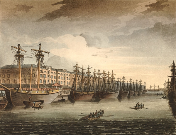 View of the West India Docks near Blackwall, published in Ackermann's Microcosm of London, 1810. Courtesy of the British Museum