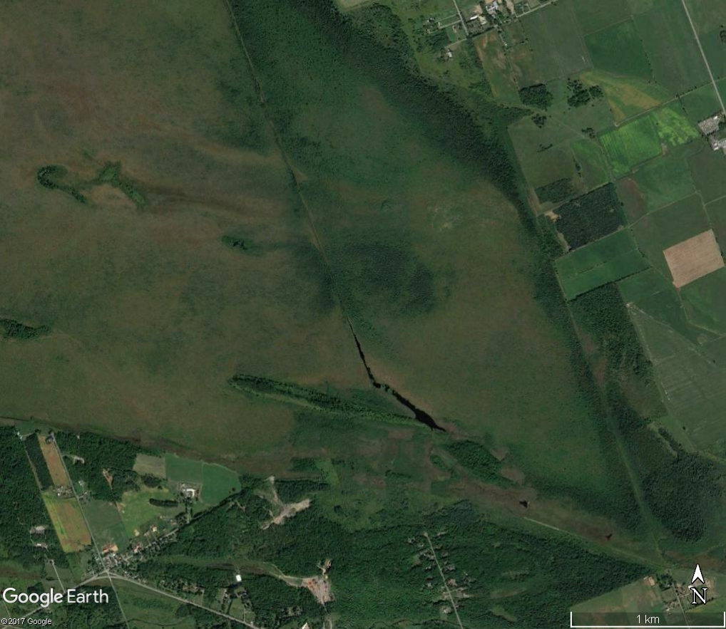 An aerial photograph shows a long ditch bisecting the Mer Bleue bog.