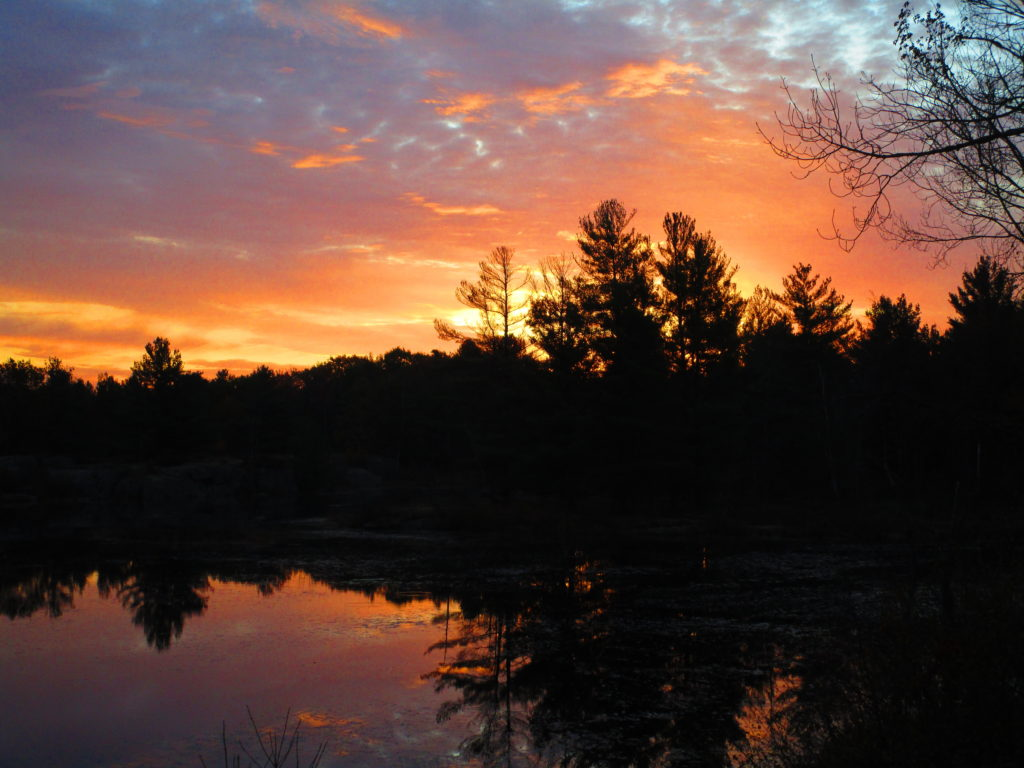 Dawn comes in pinks and blues at Lovers Pond in the Carp Hills.