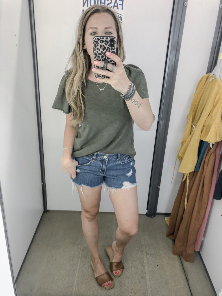 Old Navy Relaxed Ruffle-Sleeve Top for Women Boyfriend Jean Shorts