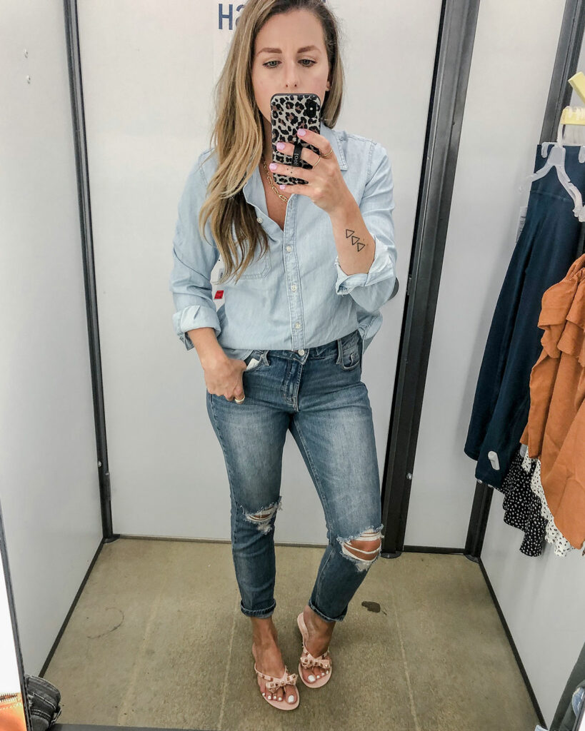 Chambray Top Denim on Denim Outfit