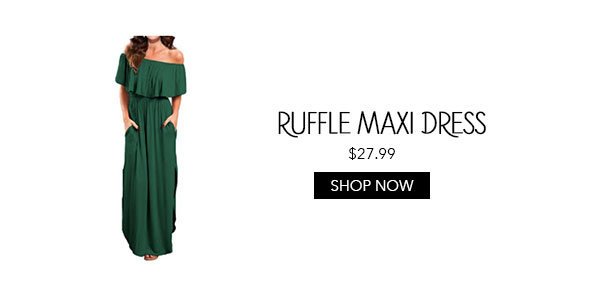 Ruffle Off the Shoulder Maxi Dress Amazon