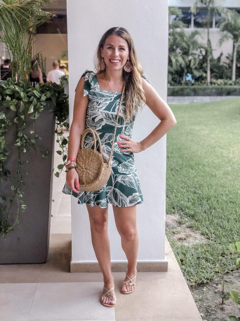 Palm Print Vacation Dress