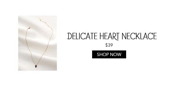 Delicate Pave Black Heart Necklace