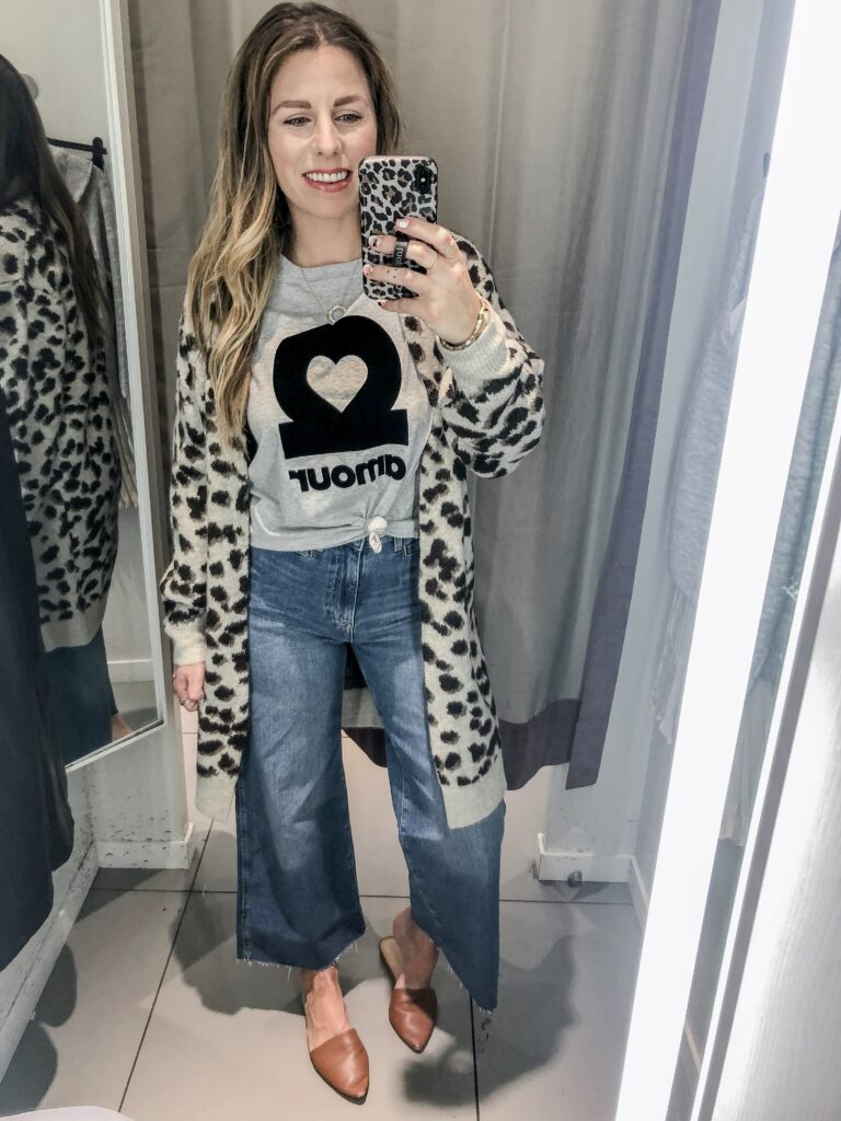 H&M 2019 Fall Collection Graphic Tee + Leopard Cardigan + Wide Leg Cropped Jeans