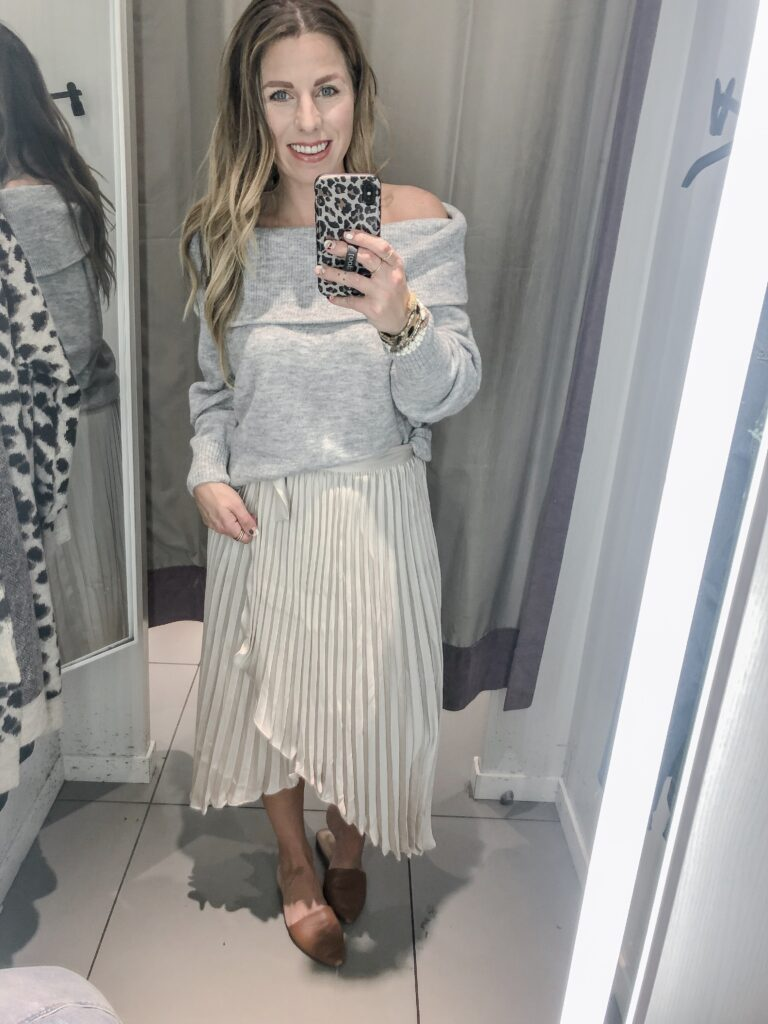 H&M 2019 Fall Collection Satin Pleated Wrap Skirt