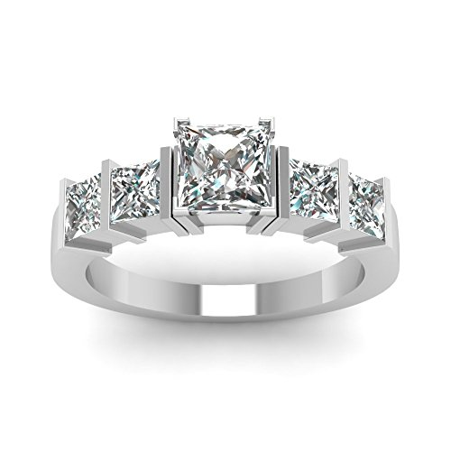 1.7 Ct Bar Set Princess Cut Diamond Contemporary Engagement Ring GIA Certified (E Color, SI2 Clarity)