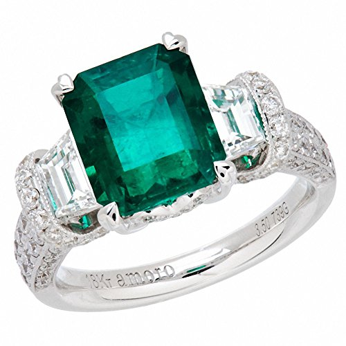 A Gorgeous Amoro 18k White Gold Colombian Emerald Ring and Diamond Ring
