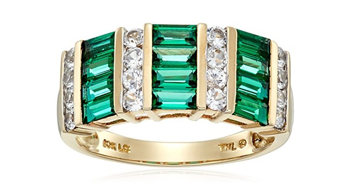 10k Yellow Gold Created Emerald and Created White Sapphire Ring