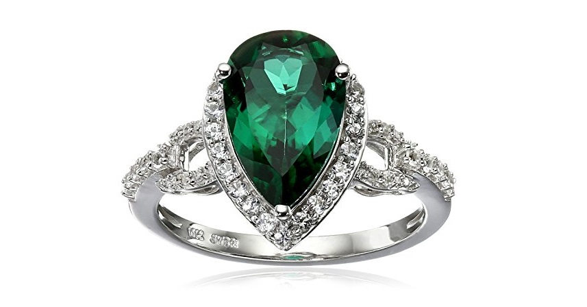 10K White Gold Created Emerald with Created White Sapphire Teardrop Ring