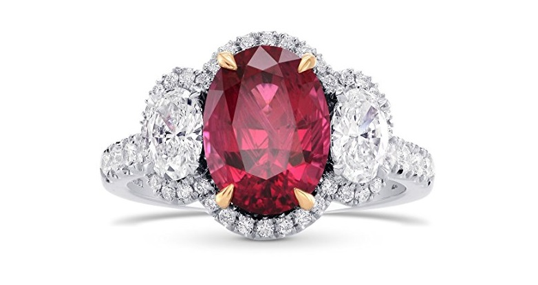 3.24Cts Rubellite Side Diamonds Engagement 3 Stone Ring Set in 18K White Yellow