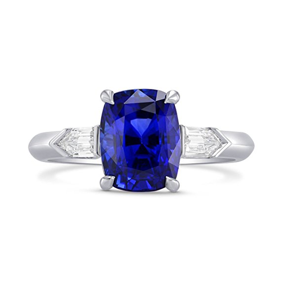 3.81Cts Sapphire Side Diamonds Engagement 3 Stone Ring Set in Platinum