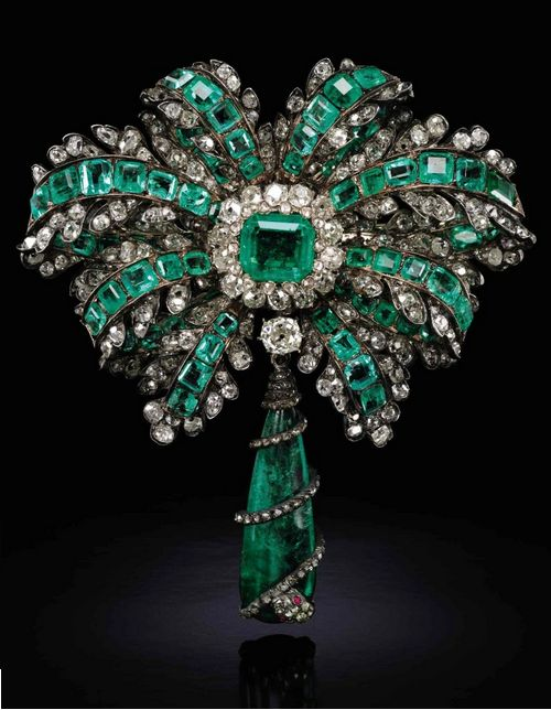 Emerald, ruby and diamond brooch, late 19th century