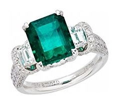 18k White Gold Colombian Emerald Ring and Diamond Ring (1.65 cttw, G-H Color, VS2-SI1 Clarity)