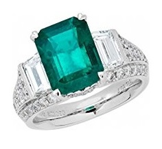 18k White Gold Colombian Emerald Ring and Diamond Ring (1.86 cttw, G-H Color,VS2-SI1 Clarity)