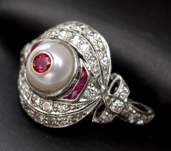 Antique 1911 Edwardian Ruby, Cultured Pearl & Diamond Ring
