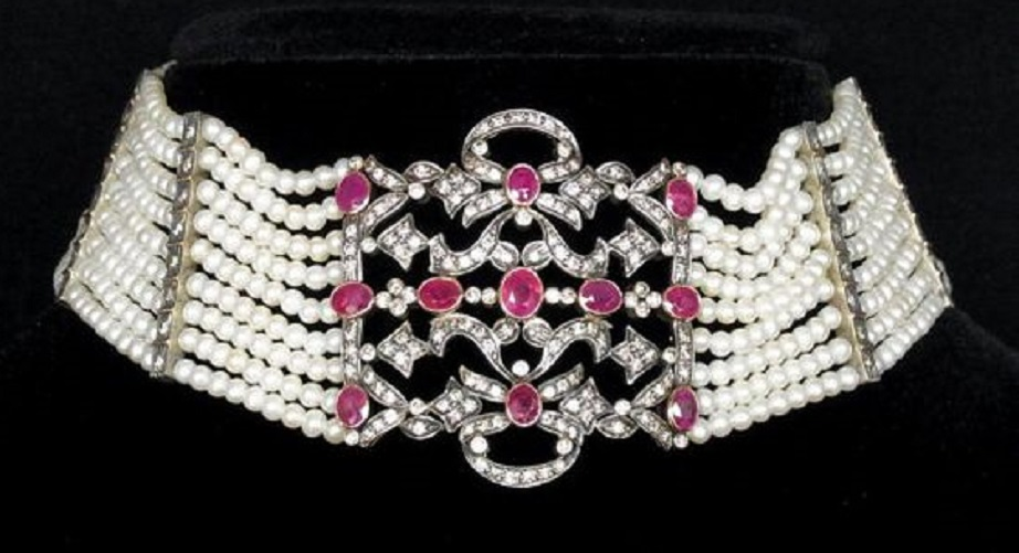 Antique Edwardian Necklace Choker Diamonds Rubies Pearls 18k Gold Silver