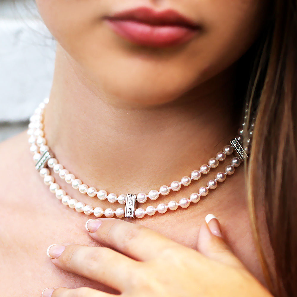 "Mikimoto Pearl Necklace with Diamonds in 18k White Gold 5.50mm 14"" Choker w/ Box"