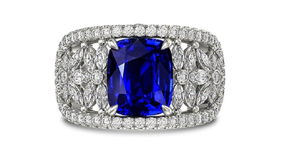 A beautiful 5.07 carats gemstone Side Stone and Extraordinary and gemstone Ring Set in Platinum White Gold. It comes with an elegant gift box. Manufactured by Leibish and Co.