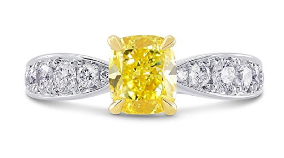 1.63Cts Yellow Diamond Engagement Side Stone Ring Set in Platinum GIA Cert