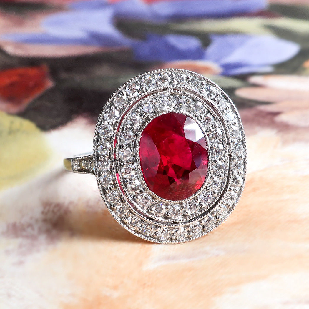 2.83ct t.w. Natural Oval Cushion Ruby & Diamond Halo Filigree Platinum Ring