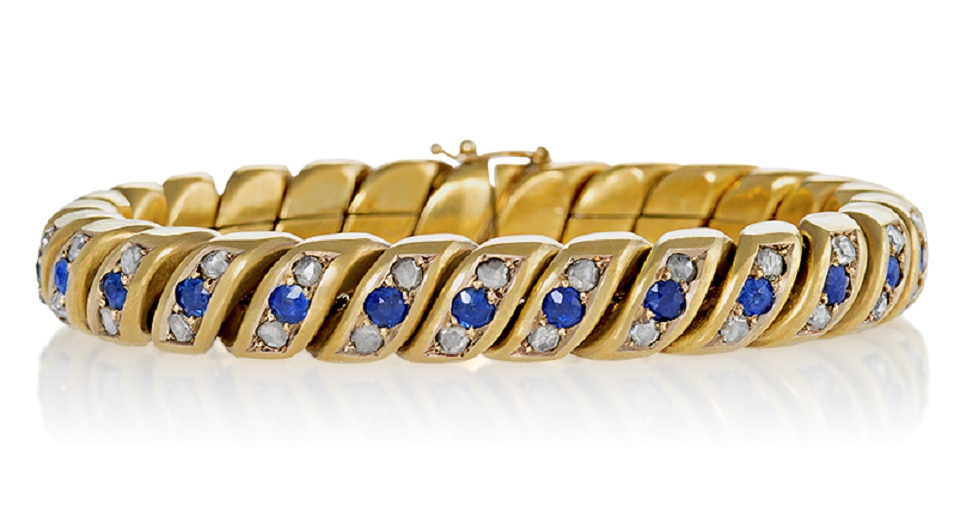 English Antique Diamond Sapphire and Bloomed Gold Link Bracelet