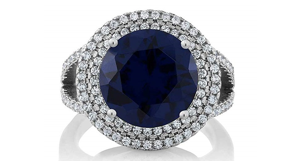 7.56 Ct Round Blue Simulated Sapphire 925 Sterling Silver Ring