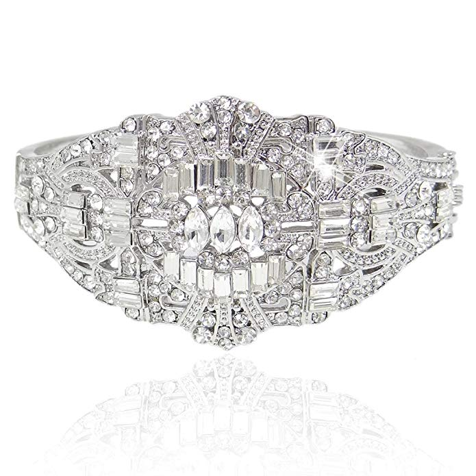 The Great Gatsby Inspired Art Deco Bracelet Clear Austrian Crystal