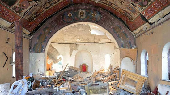 Two separate churches in the Donetsk region of eastern Ukraine have been bombed by Kiev