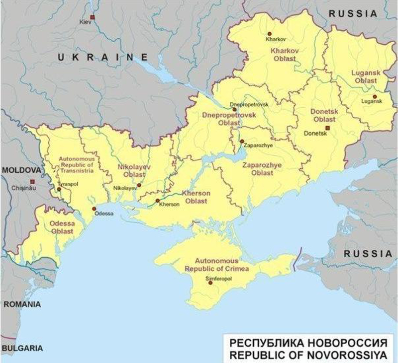 """Republic of Novorossiya"". A map of the concept of a new republic made out of Ukrainian and Moldovan territories that would join the Russian Federation."